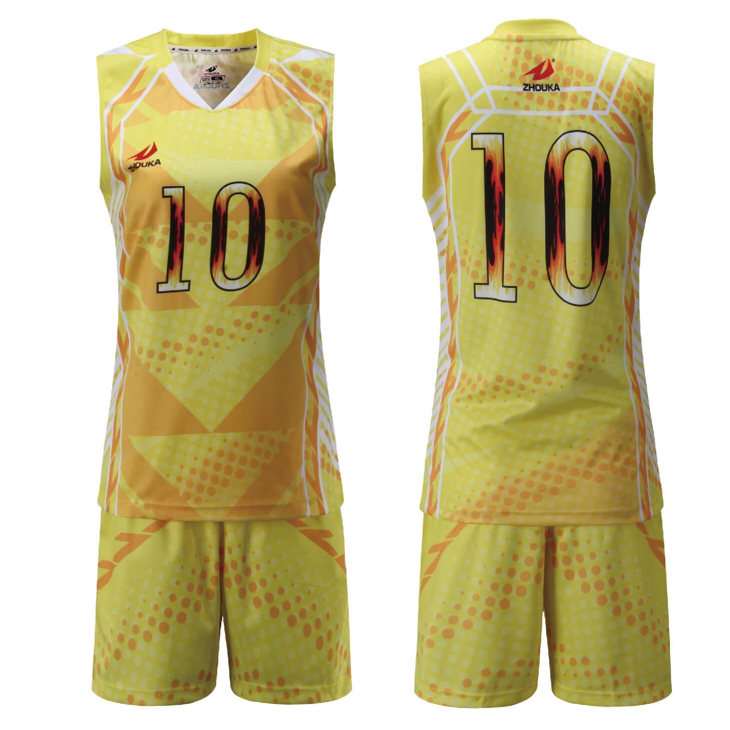 定制女排球服热升华印花透气运动套装女式无袖球衣排球衫