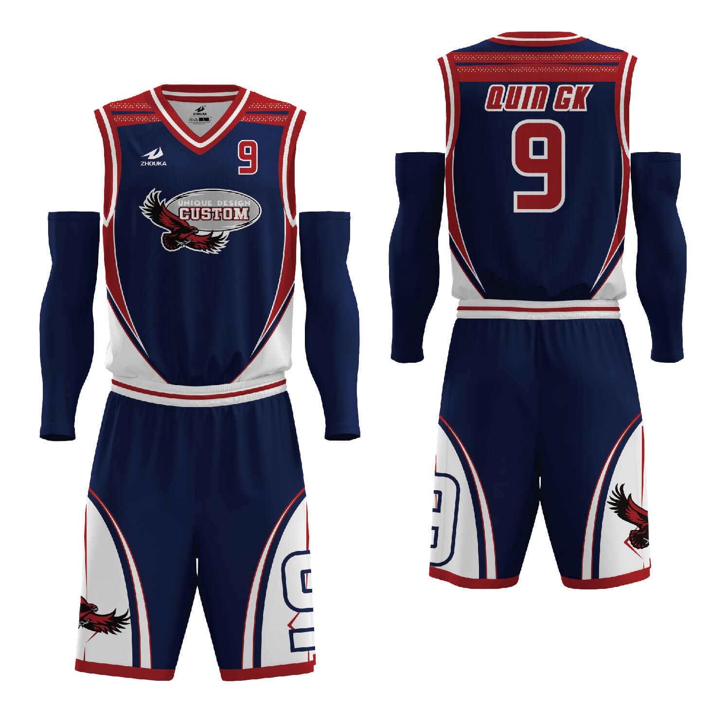 热升华透气篮球球衣套装和短裤设计热升华篮球服