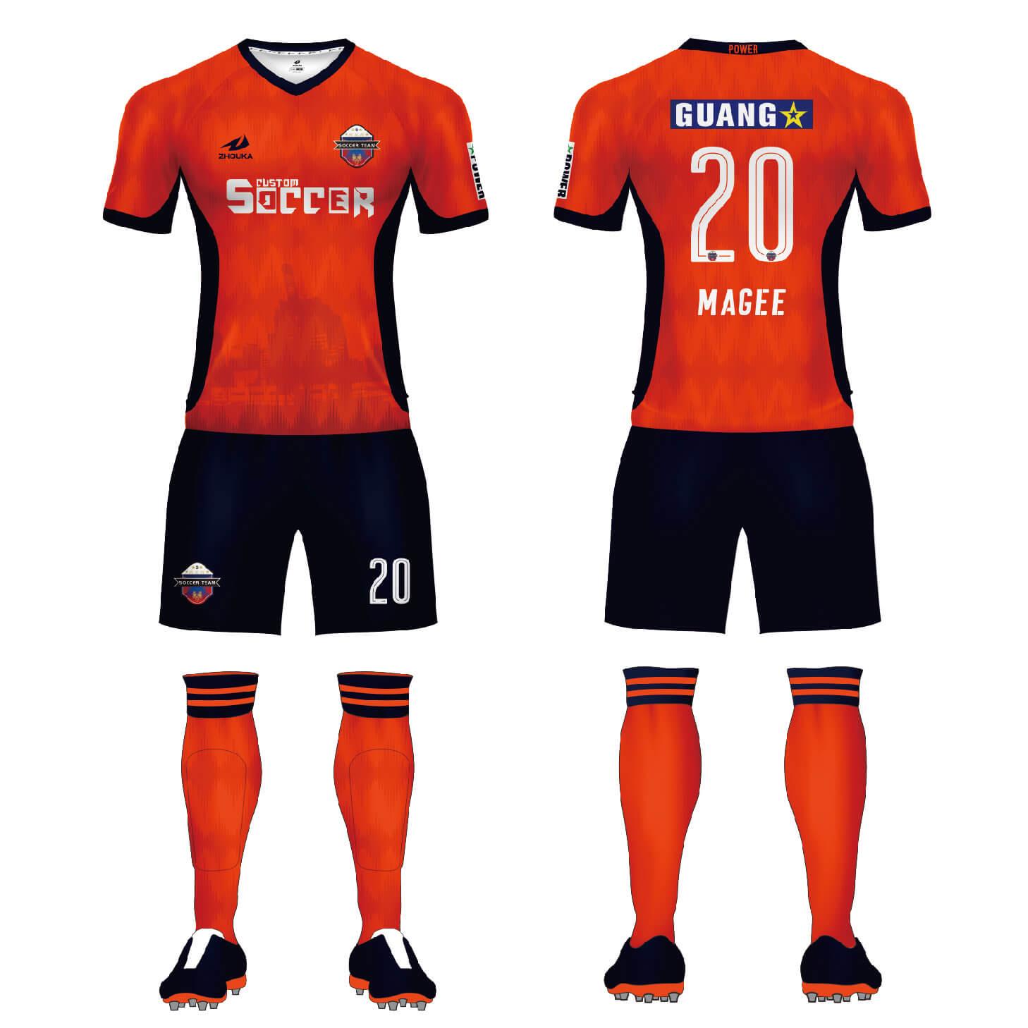 热升华足球服套装 球队比赛训练服来图来样diy足球服定制