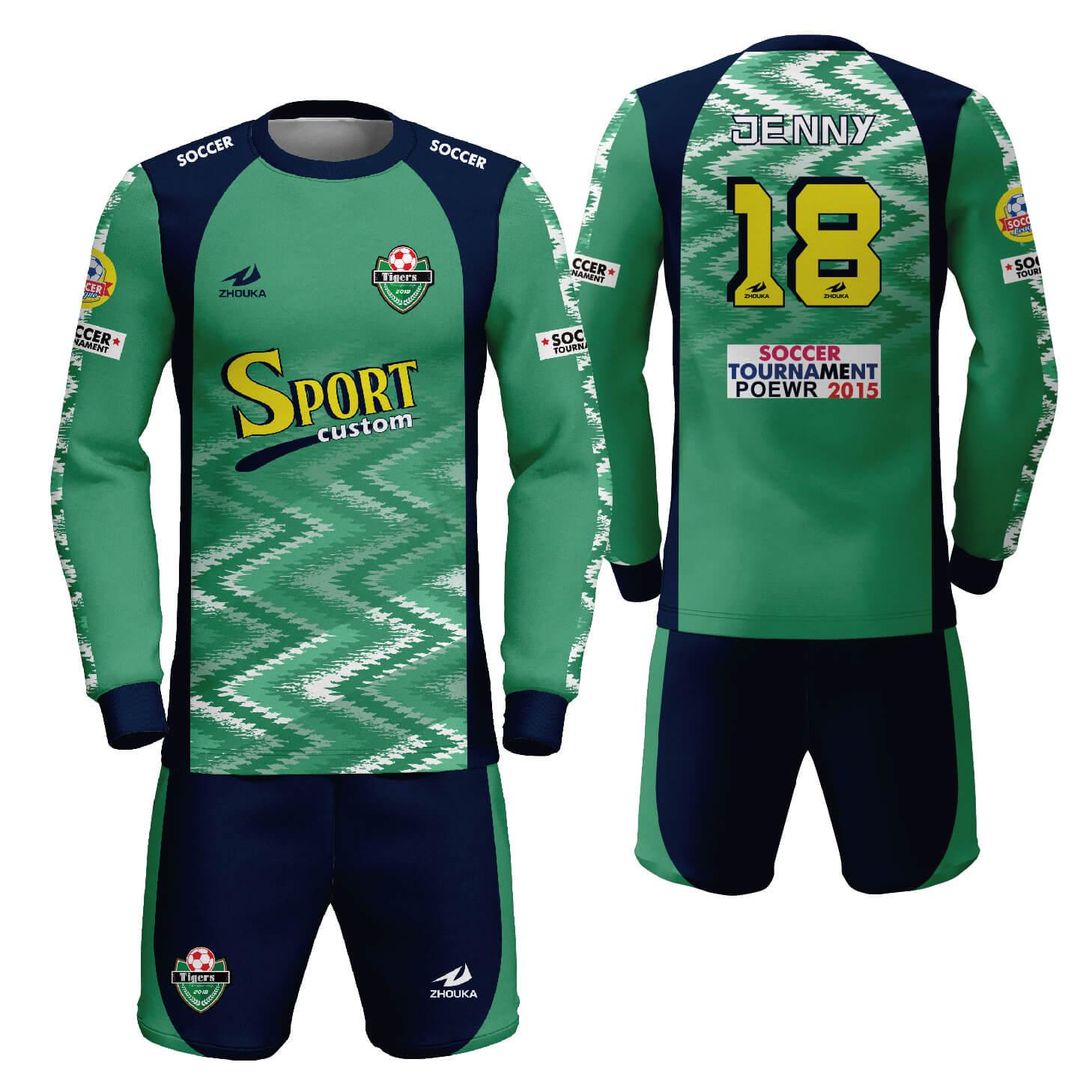 比赛队使用定制长袖足球服