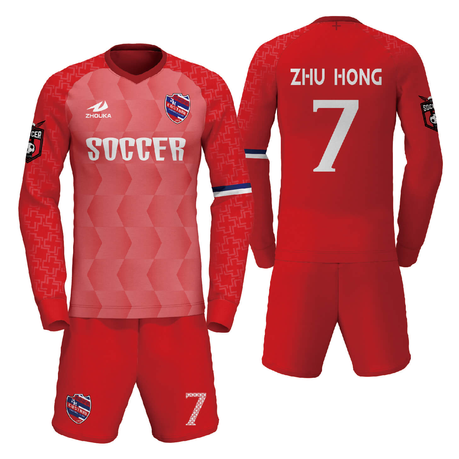 定制印刷徽标和名称长袖足球衫制造商足球球衣设计