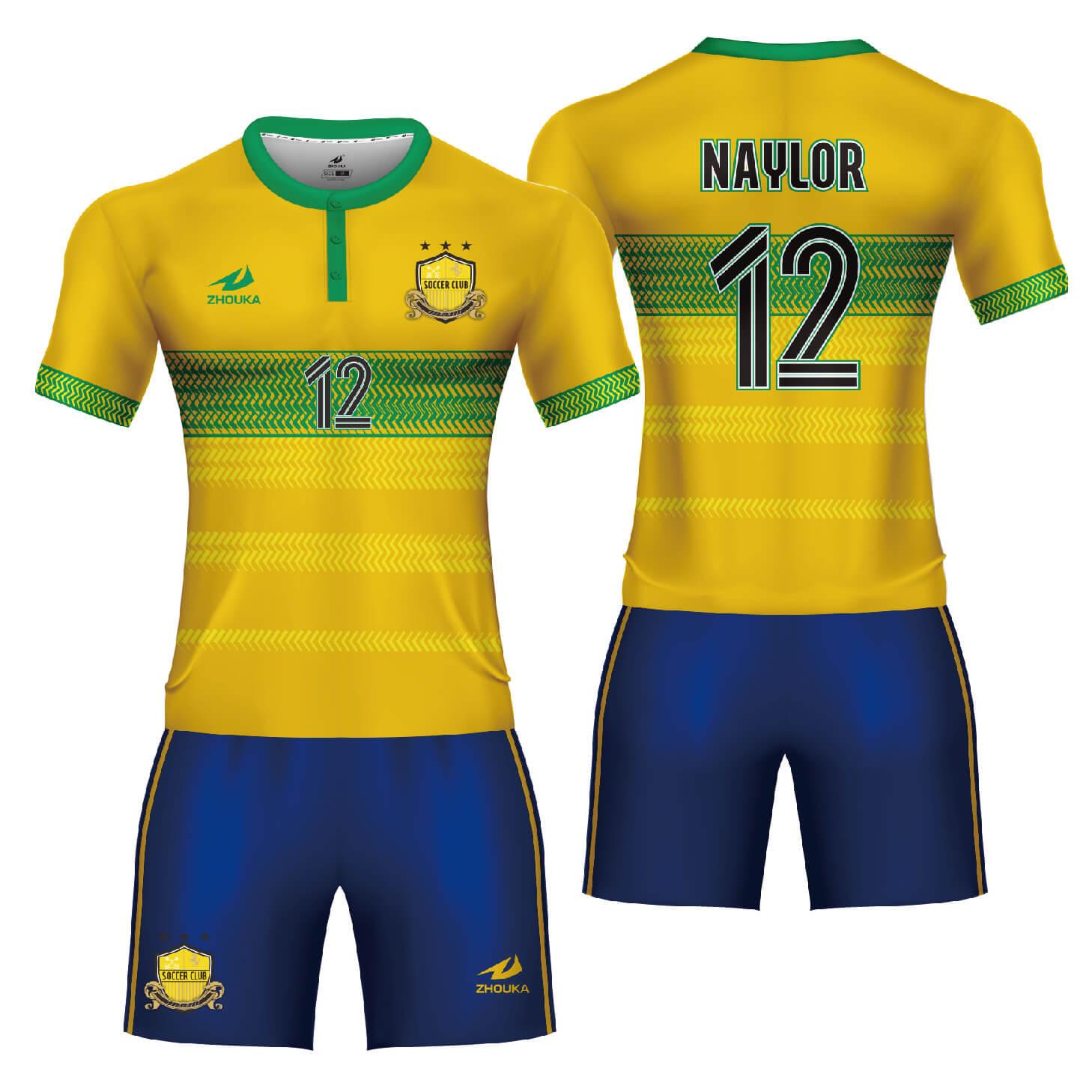 纽扣领口时尚版型定制足球俱乐部比赛足球服