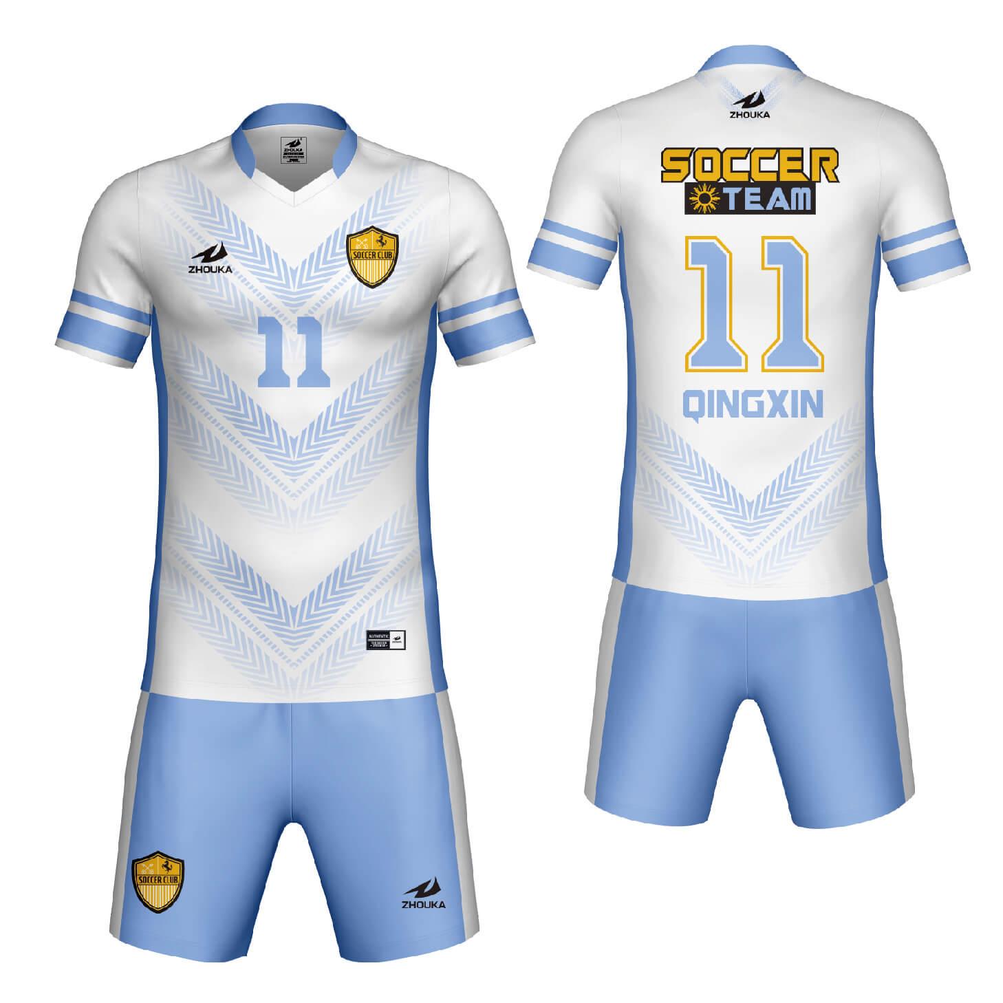热升华足球球衣的足球训练制服组足球比赛服定制