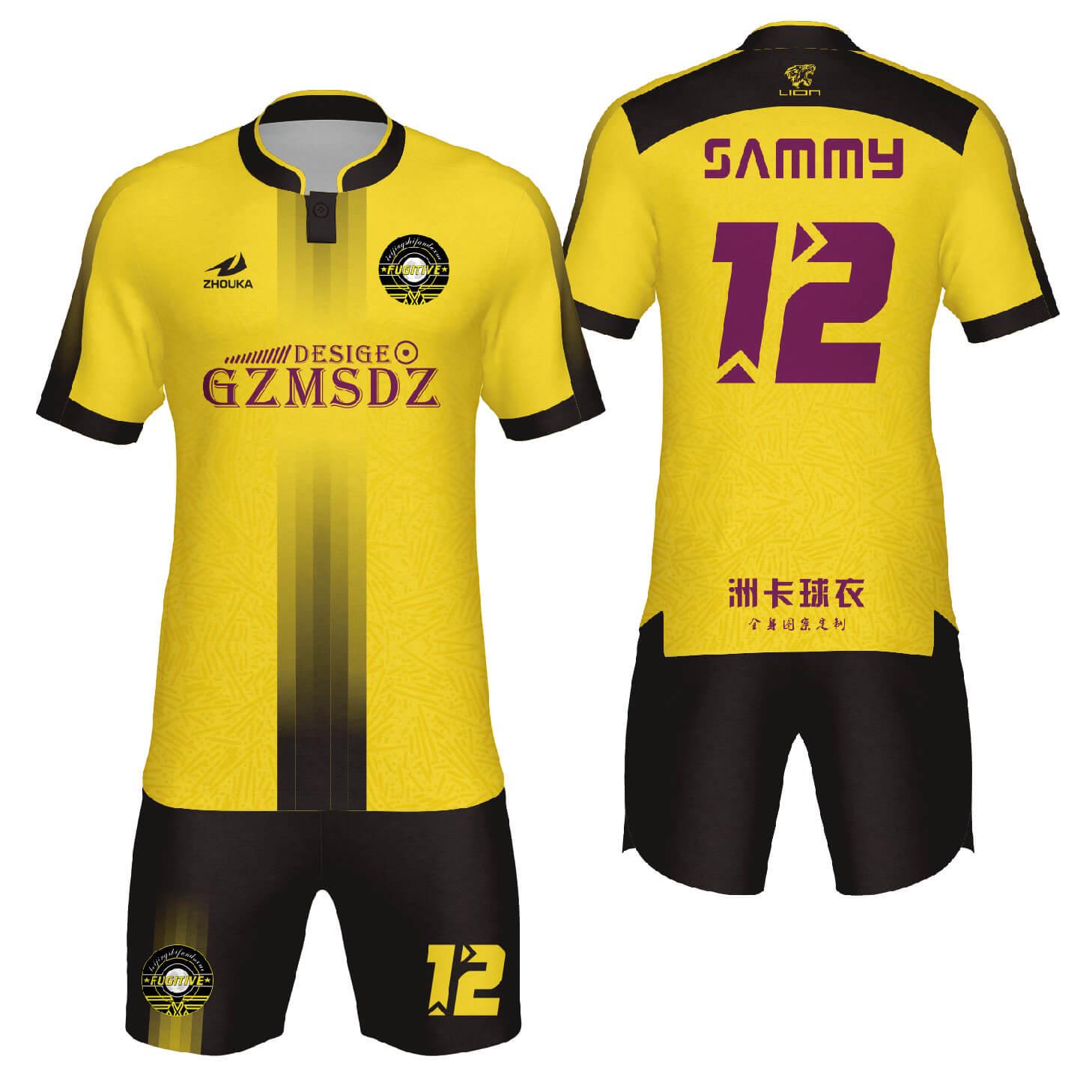 足球服热升华技术比赛服俱乐部团队定制足球服