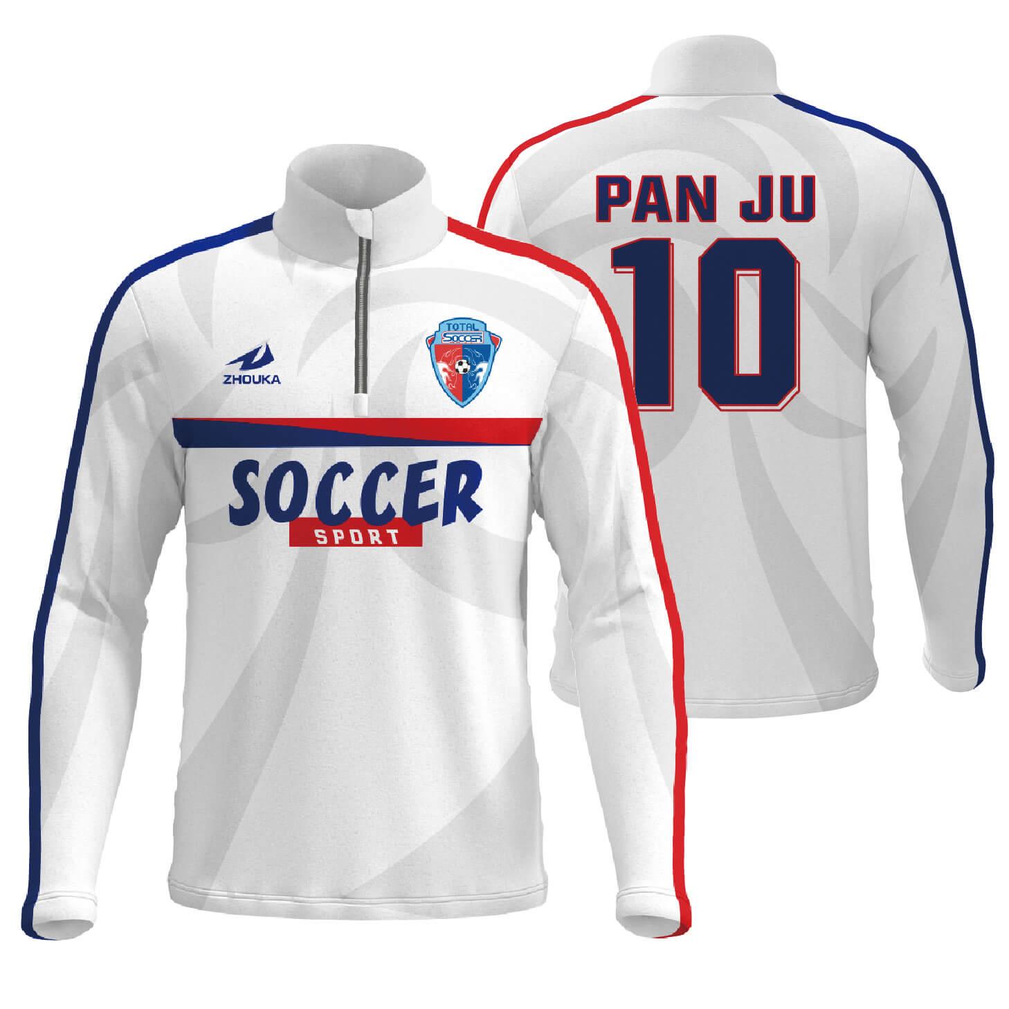拉链独特足球俱乐部团队训练运动服